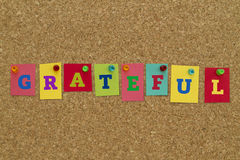 Grateful word written on colorful notes. Pinned on cork board royalty free stock images