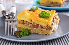 Graten土豆和肉末 免版税库存照片