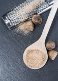 Grater with Nutmegs Stock Images