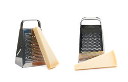 Grater and parmesan cheese isolated Royalty Free Stock Image
