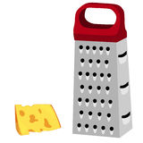 Grater with red handle and cheese. Cheese grater, red handle, grater isolated, grater vector cheese Royalty Free Stock Image