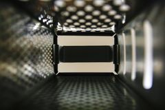 Grater for vegetables close up, inside view. royalty free stock photography
