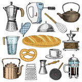 Grater and whisk, frying pan, Coffee maker or grinder, french press, mixer and baked loaf. kitchen utensils, cooking Stock Photography