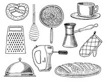 Grater and whisk, frying pan, Turk for coffee, cup of tea, mixer and baked loaf. Chef and kitchen utensils, cooking Stock Photo