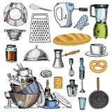Grater and whisk, frying pan, Turk for coffee, cup of tea, mixer and baked loaf. Royalty Free Stock Photography