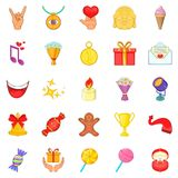 Gratification icons set, cartoon style Royalty Free Stock Images