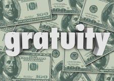 Gratifikations-Wort-Geld-Bargeld-Hintergrund, der Bill Extra Tips Thank zahlt vektor abbildung