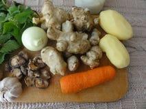 Gratin грибов бело-крапивы Artishok с морковью стоковое изображение