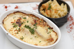 Gratin. Chicken Gratin with a gonorzola sauce and penne pasta stock photo