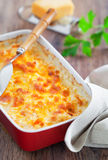 Gratin. Delicious crab gratin, selective focus royalty free stock photos