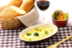 Gratin. Broccoli and Penne pasta casserole Stock Photo
