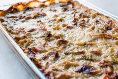 Gratin cozido caseiro/caçarola dos vegetais com queijo na bacia de vidro Imagem de Stock