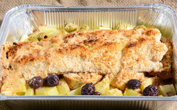 Gratin fish. Fish au gratin Mediterranean healthy Italy diet royalty free stock images