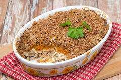 Gratin with fish and pumpkin in a ceramic form, horizontal Royalty Free Stock Photography