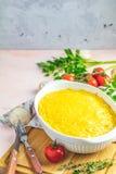 Gratin, julienne of braadpan van gebakken paddestoel met kip en kaas royalty-vrije stock afbeeldingen