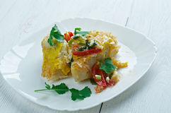 Gratin with pasta,. Beaten eggs, and  vegetables Royalty Free Stock Photography