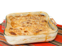 Gratin on red tablecloth Stock Image