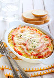 Gratin. Rice, pumpkin and pepper gratin stock photo