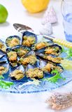 Gratin with Shellfish Mussels, Seafood, Shellfish Mussels Recipes. Baked Mussels with Bread Crumbs, Seafood Appetizer Recipes, Italian Cuisine n stock photography
