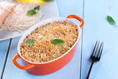 Gratin topped with a crust of breadcrumbs. And cheese Royalty Free Stock Image