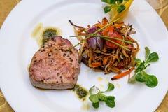 Gratin warzywo z tuńczyk ryba Zdjęcie Royalty Free