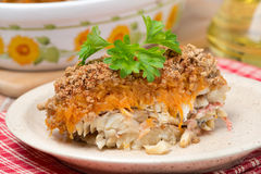 Gratin With Fish And Pumpkin On A Plate, Close-up Stock Images