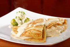 Gratinated chicken wrap. On a white plate Stock Image