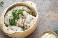 Gratinated lamb meat and liver Royalty Free Stock Image