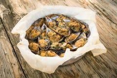 Gratinated Mussels naczynie zdjęcie stock