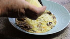 Grating cheese onto an omelette. stock video