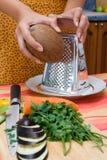Grating kokosnoot stock afbeelding