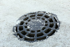 Grating manhole stock photo