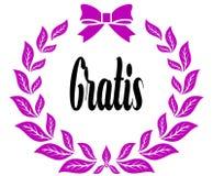 GRATIS con la cinta y el arco rosados de los laureles libre illustration