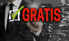 Gratis in german Free of charge concept is shown by businessma. N stock images
