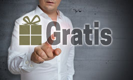 Gratis in german free of charge touch screen is operated by ma Stock Images