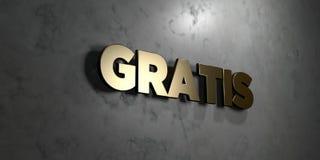 Gratis - Goldzeichen angebracht an der glatten Marmorwand - 3D übertrug freie Illustration der Abgabe auf Lager Stockfotos
