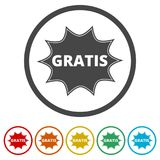 Gratis icon, Gratis sign, 6 Colors Included. Simple vector icons set Stock Images