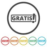 Gratis icon, Gratis sign, 6 Colors Included. Simple vector icons set Royalty Free Stock Image