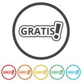 Gratis icon, Gratis sign, 6 Colors Included. Simple vector icons set Stock Image