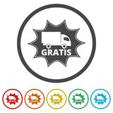 Gratis icon, Gratis sign, 6 Colors Included. Simple vector icons set Royalty Free Stock Images