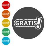Gratis icon, Gratis sign. Simple vector icons set Royalty Free Stock Photo