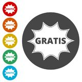 Gratis icon, Gratis sign. Simple vector icons set Stock Photography