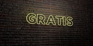 GRATIS - realistische Leuchtreklame auf Backsteinmauerhintergrund - 3D übertrug freies Archivbild der Abgabe Lizenzfreie Stockfotos