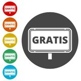 Gratis sign, icon, stamp Stock Images