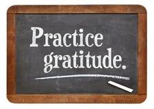 Gratitud de la práctica en la pizarra Foto de archivo