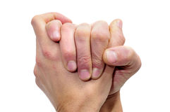 Gratitude. Men hands together symbolizing gratitude or compassion Stock Image