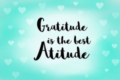 Gratitude is the best attitude message on blue soft background Stock Photos