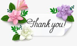"""Gratitude card """"Thank you"""" with realistic flowers Stock Photography"""