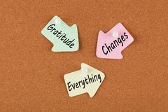Gratitude Changes Everything. Written on color reminder notes with pin on cork board. Business concept stock photos