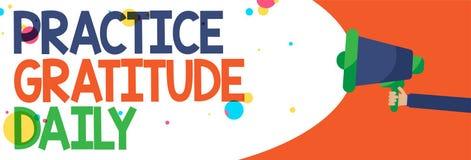 Gratitude de pratique en matière des textes d'écriture de Word quotidienne Le concept d'affaires pour soit reconnaissant à ceux q illustration stock